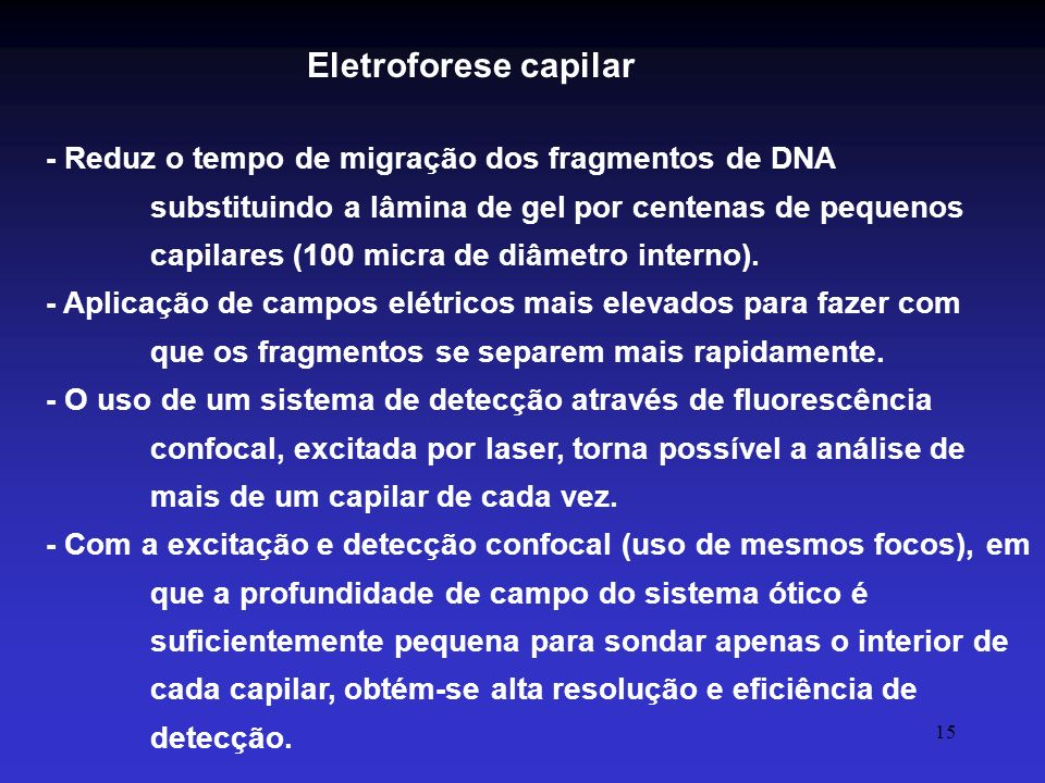 15 - Reduz o tempo de migração dos fragmentos de DNA substituindo a lâmina de gel por centenas de pequenos capilares (100 micra de diâmetro interno).