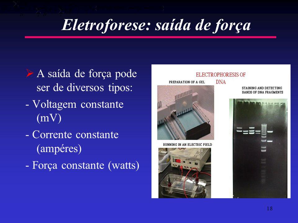 18 Eletroforese: saída de força A saída de força pode ser de diversos tipos: - Voltagem constante (mV) - Corrente constante (ampéres) - Força constant