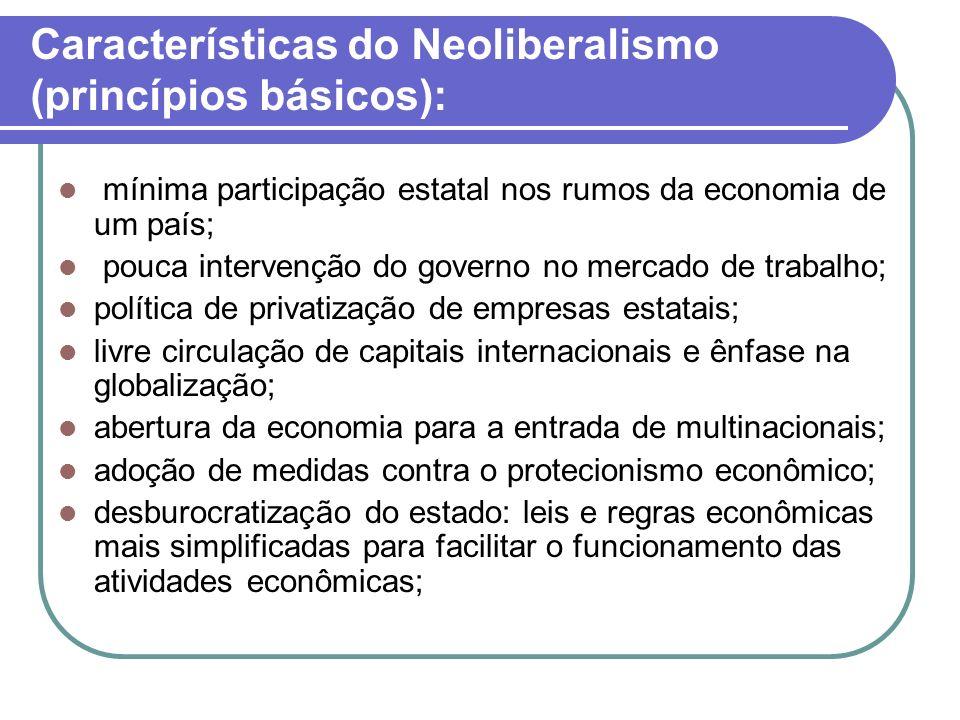 Características do Neoliberalismo (princípios básicos): mínima participação estatal nos rumos da economia de um país; pouca intervenção do governo no
