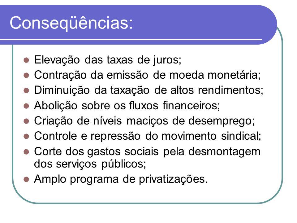 Conseqüências: Elevação das taxas de juros; Contração da emissão de moeda monetária; Diminuição da taxação de altos rendimentos; Abolição sobre os flu