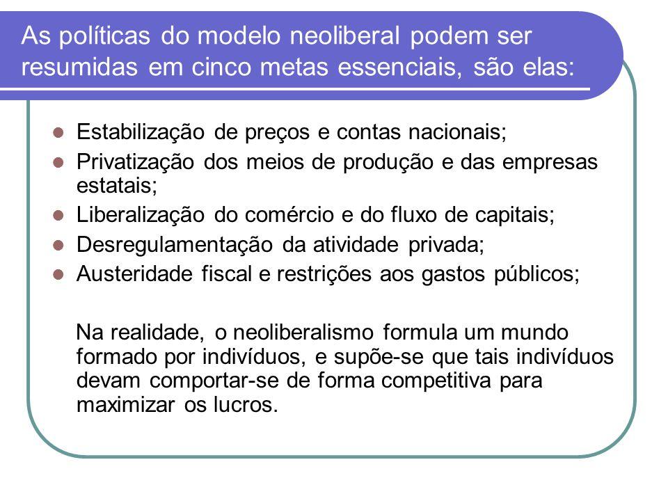 As políticas do modelo neoliberal podem ser resumidas em cinco metas essenciais, são elas: Estabilização de preços e contas nacionais; Privatização do