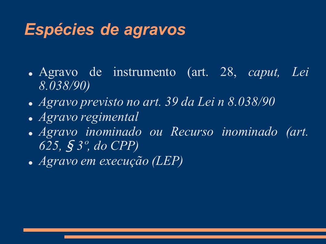 Espécies de agravos Agravo de instrumento (art. 28, caput, Lei 8.038/90) Agravo previsto no art. 39 da Lei n 8.038/90 Agravo regimental Agravo inomina
