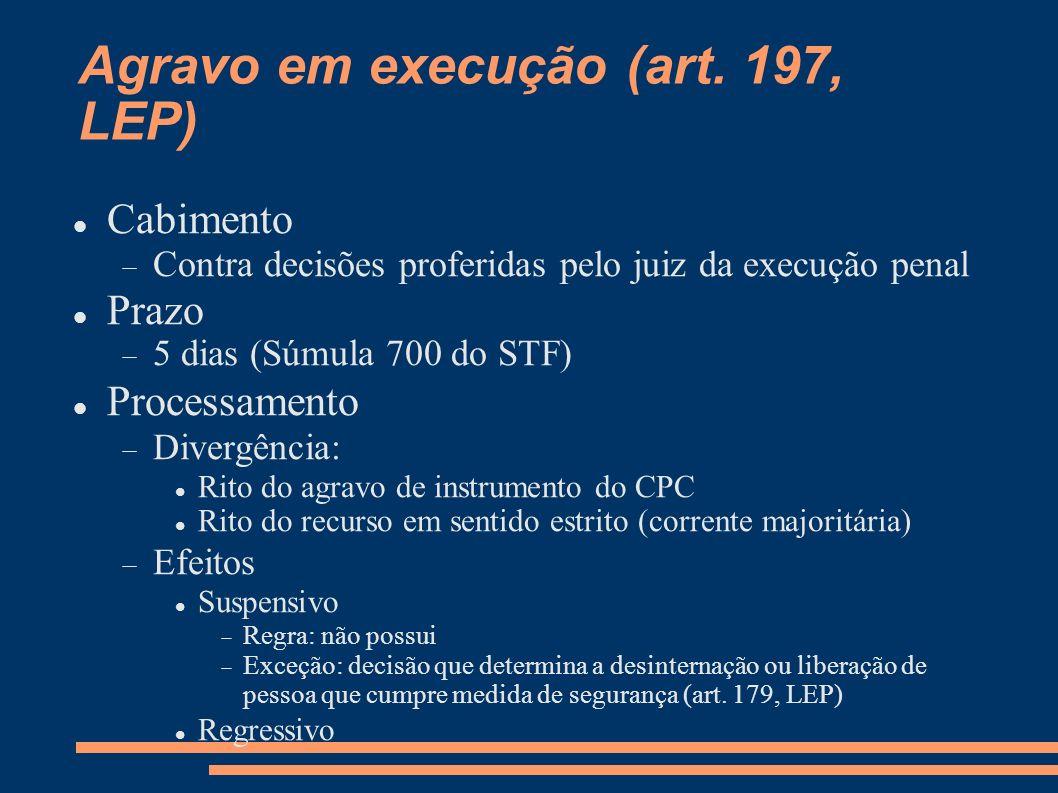 Agravo em execução (art. 197, LEP) Cabimento Contra decisões proferidas pelo juiz da execução penal Prazo 5 dias (Súmula 700 do STF) Processamento Div