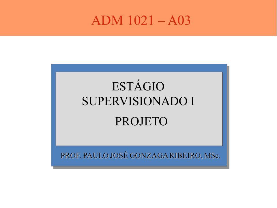 PROF. PAULO JOSÉ GONZAGA RIBEIRO, MSc. ESTÁGIO SUPERVISIONADO I PROJETO ADM 1021 – A03