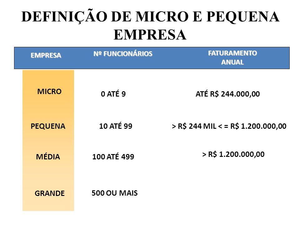 EMPRESA ATÉ R$ 244.000,00 GRANDE Nº FUNCIONÁRIOS FATURAMENTO ANUAL 500 OU MAIS DEFINIÇÃO DE MICRO E PEQUENA EMPRESA MICRO 0 ATÉ 9 PEQUENA10 ATÉ 99> R$ 244 MIL < = R$ 1.200.000,00 MÉDIA100 ATÉ 499 > R$ 1.200.000,00