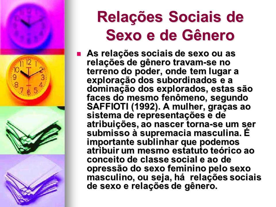 Relações Sociais de Sexo e de Gênero As relações sociais de sexo ou as relações de gênero travam-se no terreno do poder, onde tem lugar a exploração d