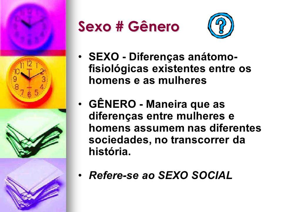 Sexo # Gênero SEXO - Diferenças anátomo- fisiológicas existentes entre os homens e as mulheres GÊNERO - Maneira que as diferenças entre mulheres e hom