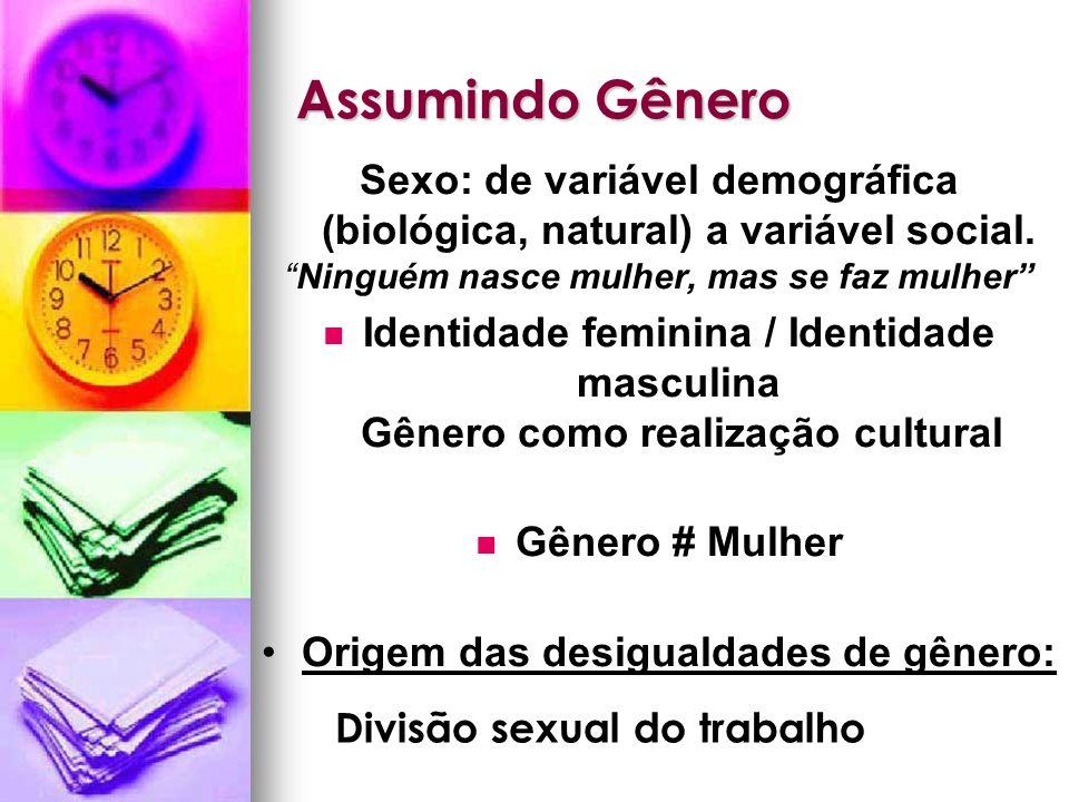 Assumindo Gênero Sexo: de variável demográfica (biológica, natural) a variável social. Ninguém nasce mulher, mas se faz mulher Identidade feminina / I