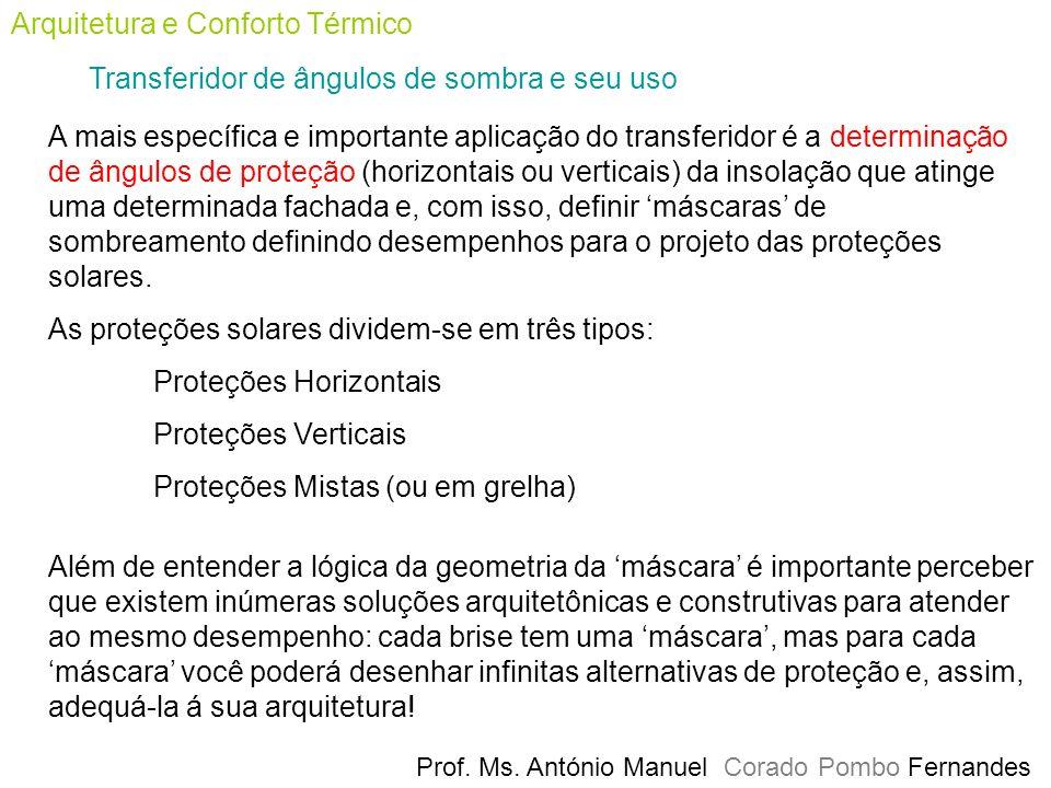 Prof. Ms. António Manuel Corado Pombo Fernandes Arquitetura e Conforto Térmico Transferidor de ângulos de sombra e seu uso A mais específica e importa
