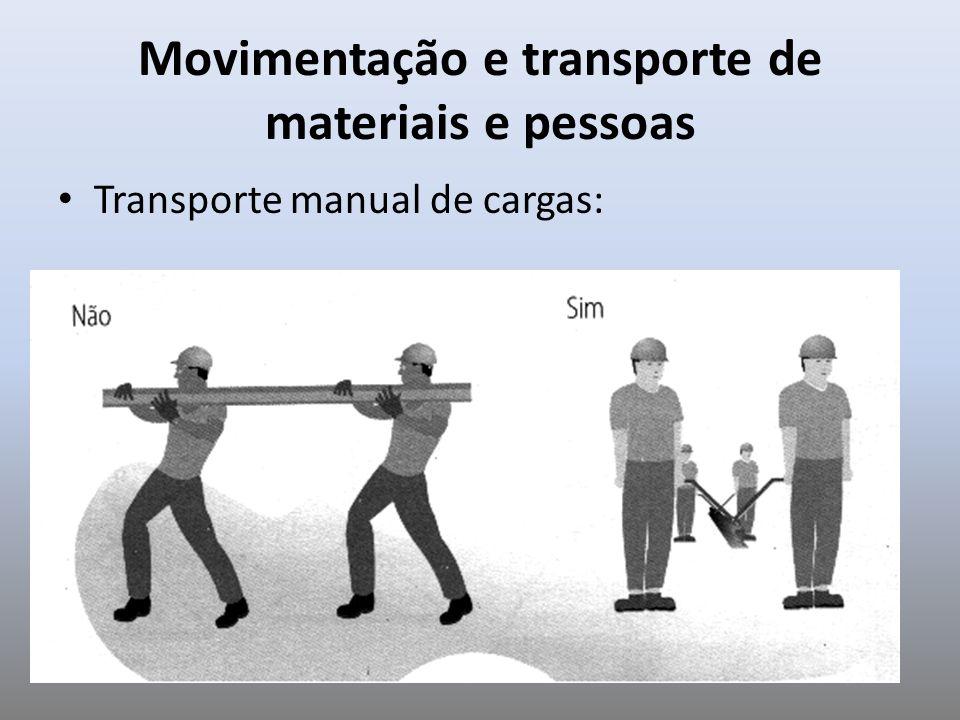 Movimentação e transporte de materiais e pessoas Transporte manual de cargas: