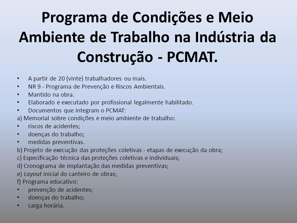 Programa de Condições e Meio Ambiente de Trabalho na Indústria da Construção - PCMAT. A partir de 20 (vinte) trabalhadores ou mais. NR 9 - Programa de
