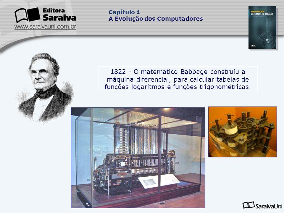 1822 - O matemático Babbage construiu a máquina diferencial, para calcular tabelas de funções logaritmos e funções trigonométricas.