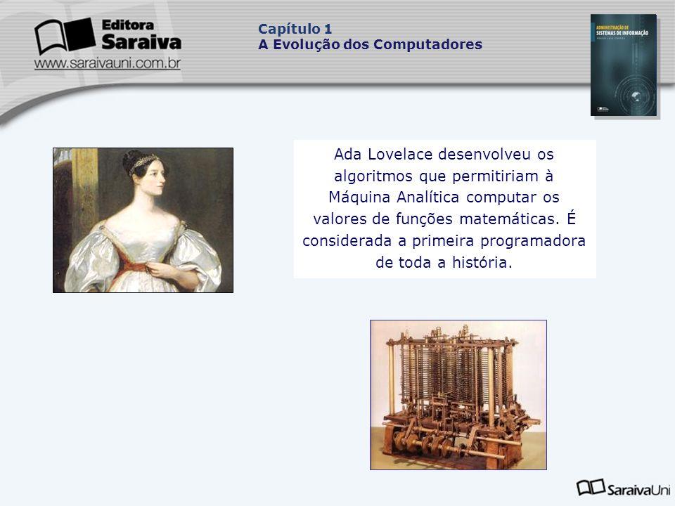 Ada Lovelace desenvolveu os algoritmos que permitiriam à Máquina Analítica computar os valores de funções matemáticas.