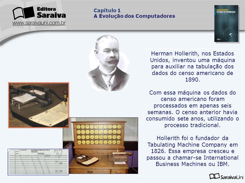 Herman Hollerith, nos Estados Unidos, inventou uma máquina para auxiliar na tabulação dos dados do censo americano de 1890.