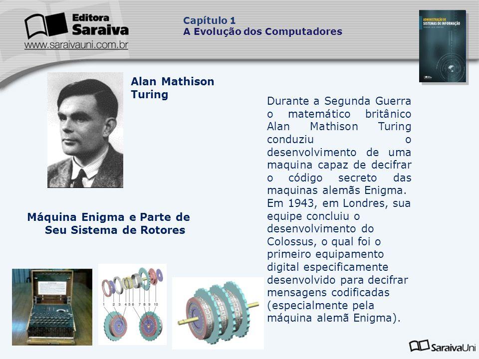 Máquina Enigma e Parte de Seu Sistema de Rotores Durante a Segunda Guerra o matemático britânico Alan Mathison Turing conduziu o desenvolvimento de uma maquina capaz de decifrar o código secreto das maquinas alemãs Enigma.