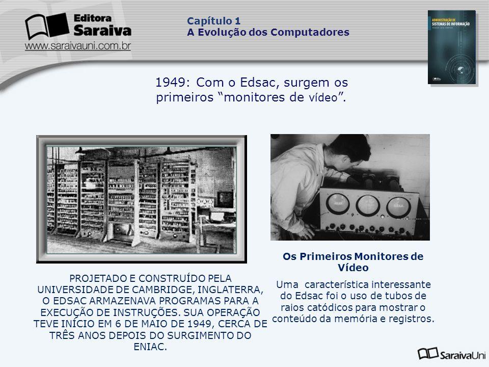 1949: Com o Edsac, surgem os primeiros monitores de vídeo.