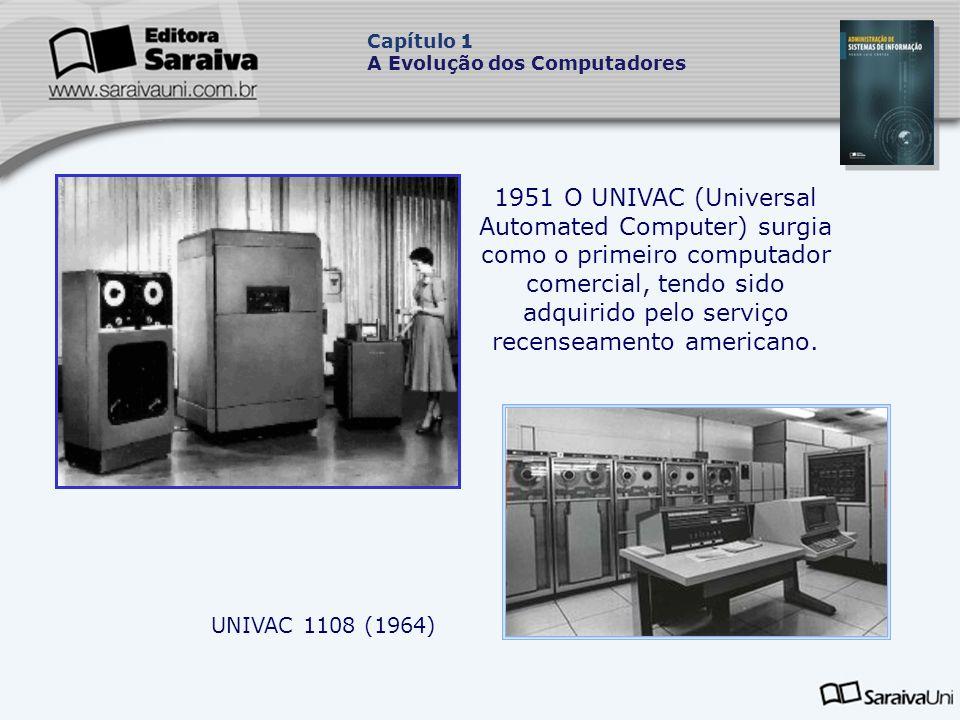 1951 O UNIVAC (Universal Automated Computer) surgia como o primeiro computador comercial, tendo sido adquirido pelo serviço recenseamento americano.