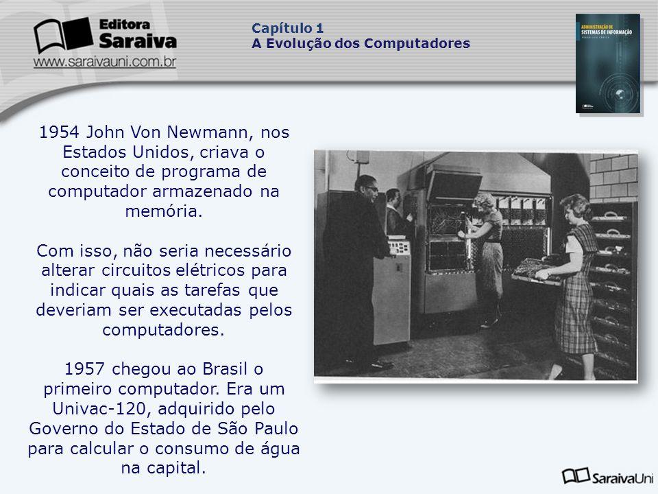 1954 John Von Newmann, nos Estados Unidos, criava o conceito de programa de computador armazenado na memória.