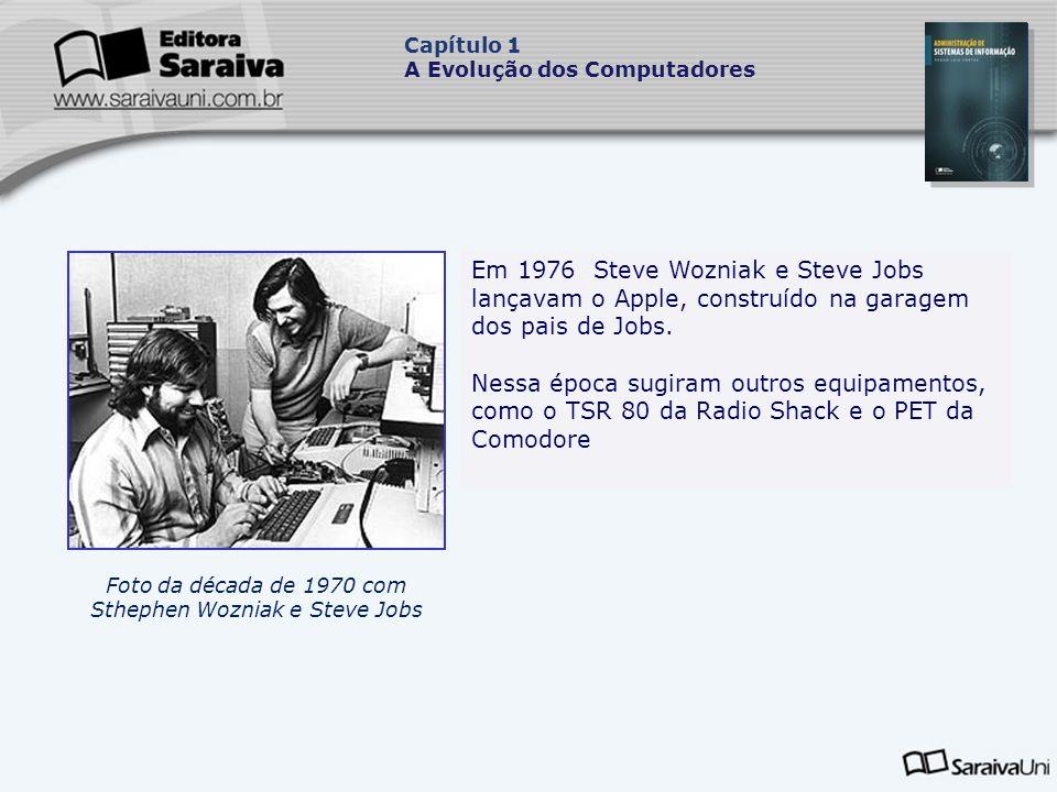 Foto da década de 1970 com Sthephen Wozniak e Steve Jobs.