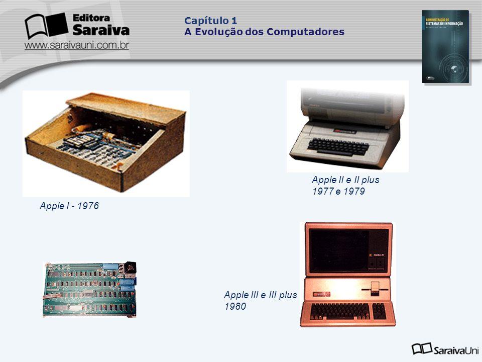 Apple II e II plus 1977 e 1979 Apple III e III plus 1980 Apple I - 1976 Capítulo 1 A Evolução dos Computadores