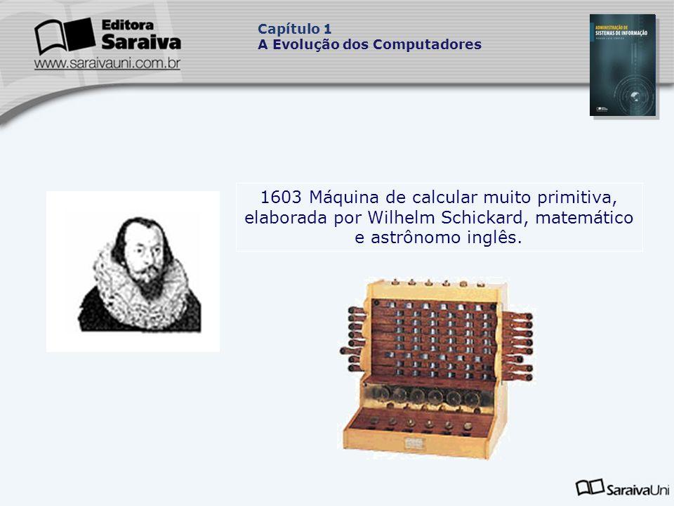 1603 Máquina de calcular muito primitiva, elaborada por Wilhelm Schickard, matemático e astrônomo inglês.