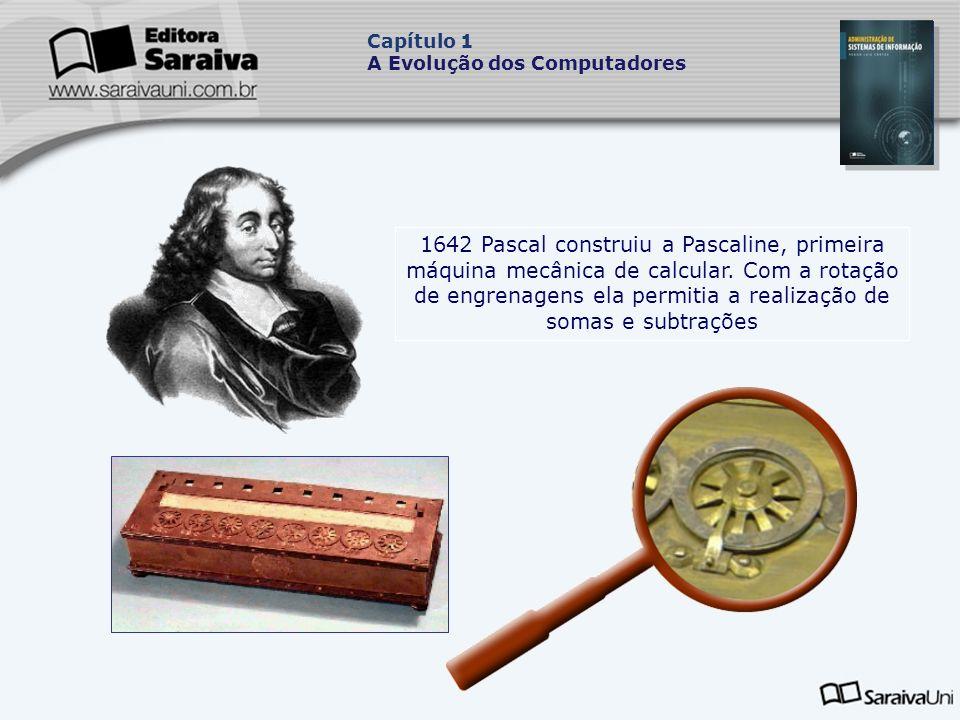 1642 Pascal construiu a Pascaline, primeira máquina mecânica de calcular.