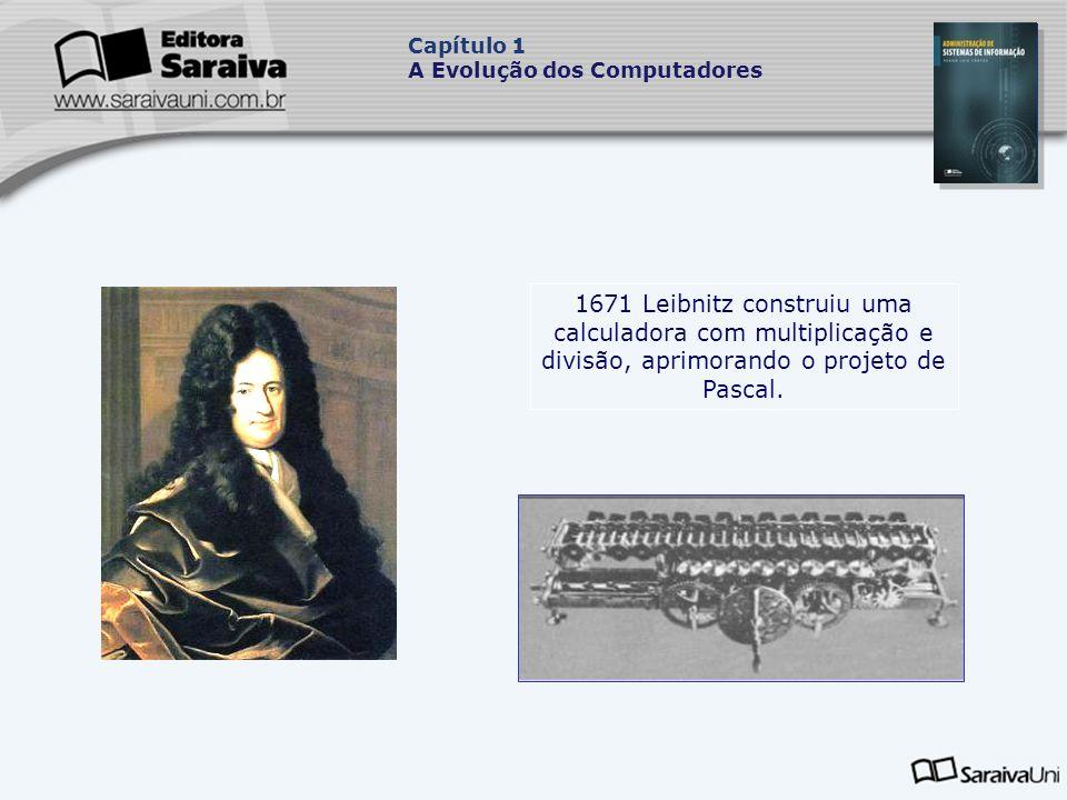 1671 Leibnitz construiu uma calculadora com multiplicação e divisão, aprimorando o projeto de Pascal.