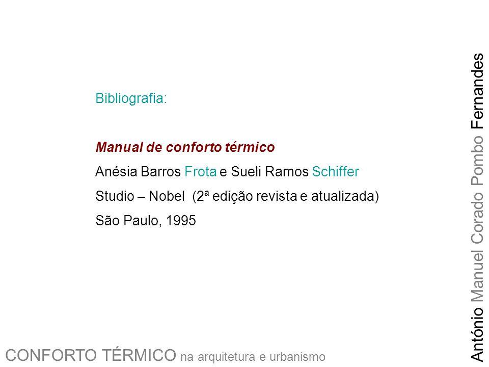 CONFORTO TÉRMICO na arquitetura e urbanismo António Manuel Corado Pombo Fernandes Bibliografia: Manual de conforto térmico Anésia Barros Frota e Sueli