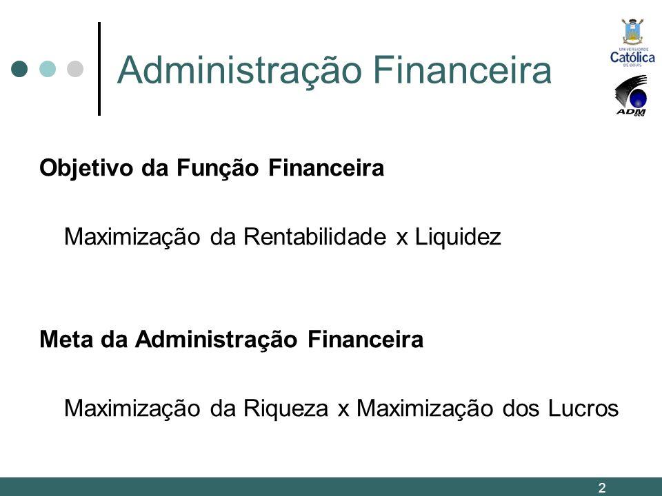 Administração Financeira Objetivo da Função Financeira Maximização da Rentabilidade x Liquidez Meta da Administração Financeira Maximização da Riqueza