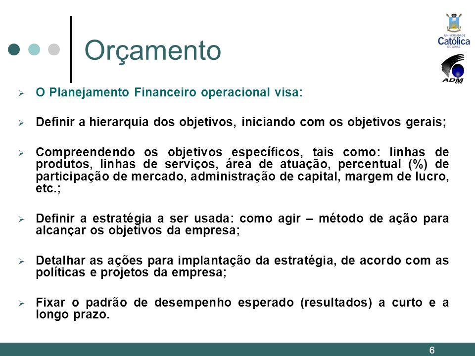 Orçamento O Planejamento Financeiro operacional visa: Definir a hierarquia dos objetivos, iniciando com os objetivos gerais; Compreendendo os objetivo