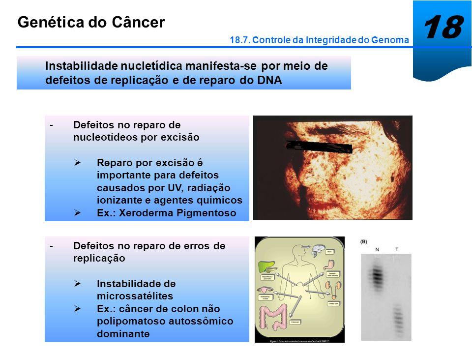 18 Genética do Câncer 18.7. Controle da Integridade do Genoma Instabilidade nucletídica manifesta-se por meio de defeitos de replicação e de reparo do