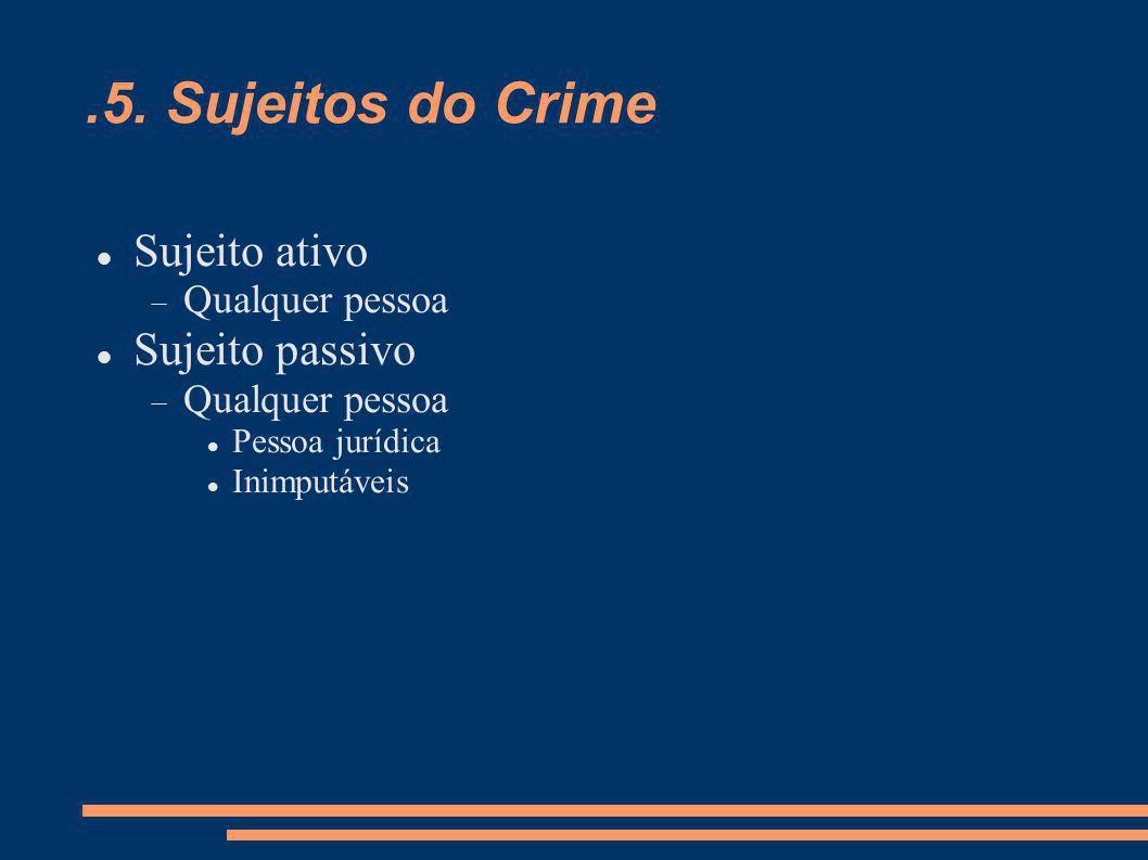 .5. Sujeitos do Crime Sujeito ativo Qualquer pessoa Sujeito passivo Qualquer pessoa Pessoa jurídica Inimputáveis