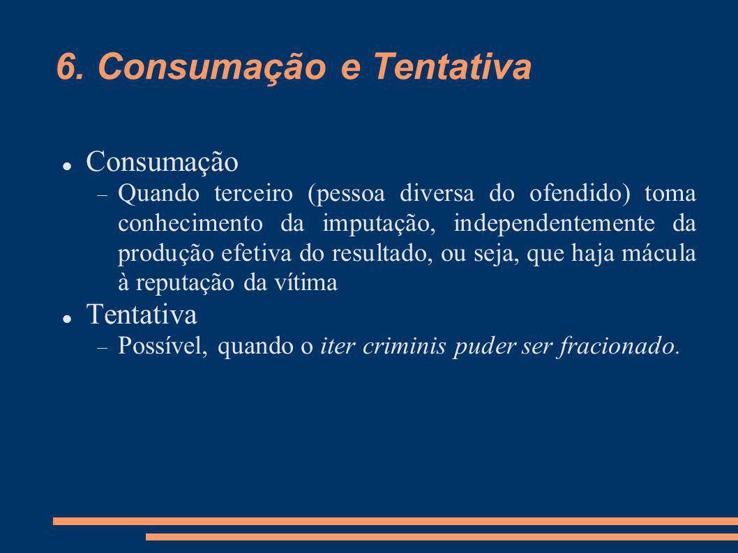 6. Consumação e Tentativa Consumação Quando terceiro (pessoa diversa do ofendido) toma conhecimento da imputação, independentemente da produção efetiv