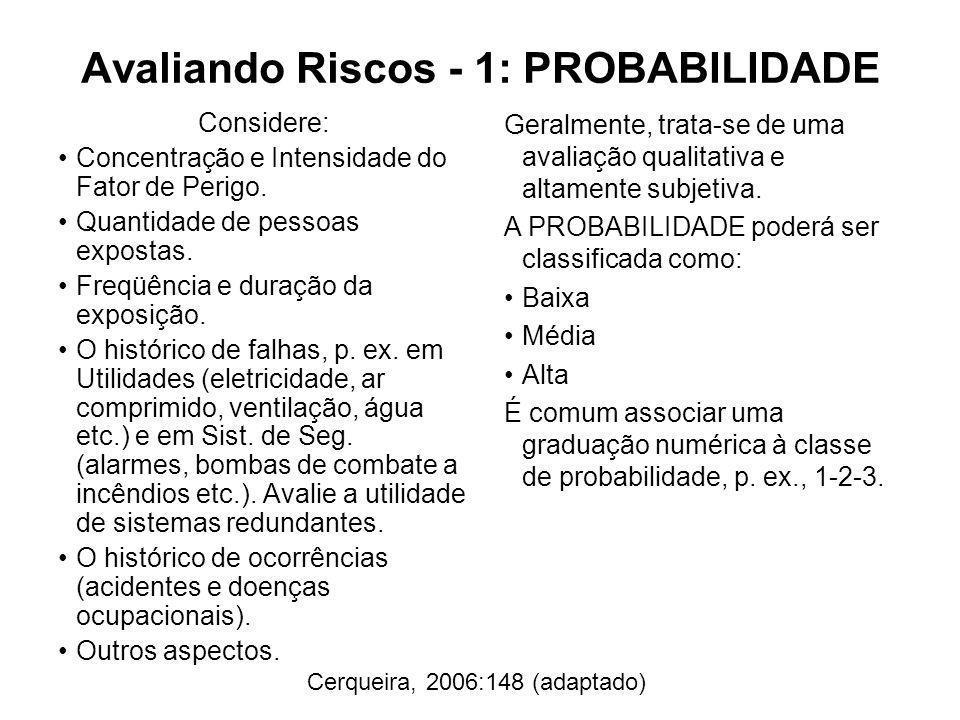 Avaliando Riscos - 1: PROBABILIDADE Considere: Concentração e Intensidade do Fator de Perigo. Quantidade de pessoas expostas. Freqüência e duração da
