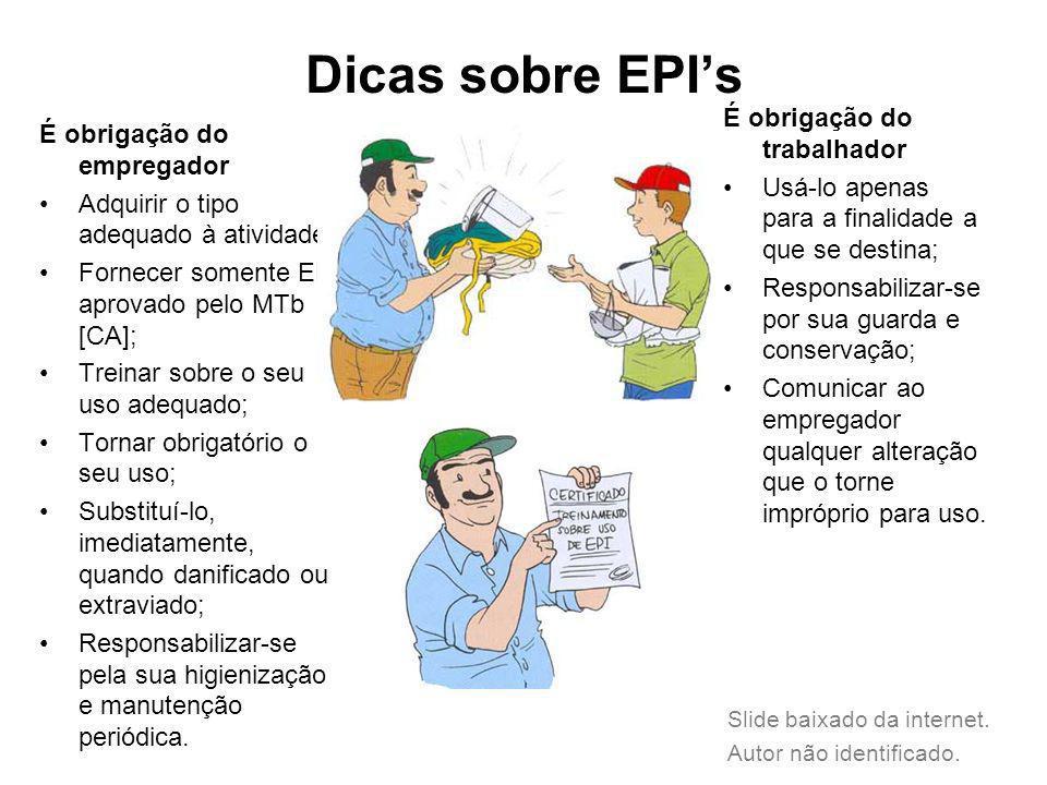 Dicas sobre EPIs É obrigação do empregador Adquirir o tipo adequado à atividade; Fornecer somente EPI aprovado pelo MTb [CA]; Treinar sobre o seu uso