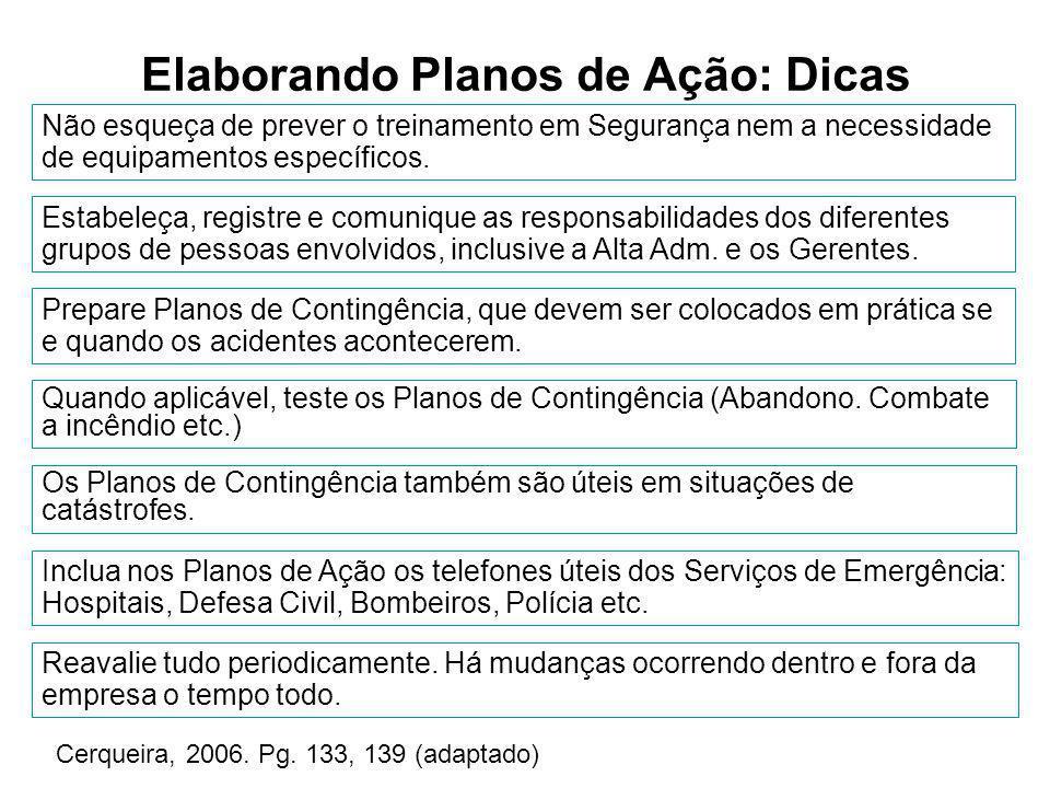 Elaborando Planos de Ação: Dicas Cerqueira, 2006. Pg. 133, 139 (adaptado) Reavalie tudo periodicamente. Há mudanças ocorrendo dentro e fora da empresa