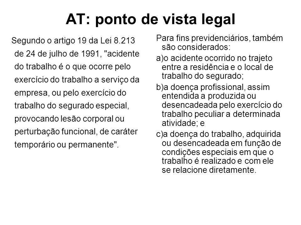 AT: ponto de vista legal Segundo o artigo 19 da Lei 8.213 de 24 de julho de 1991,