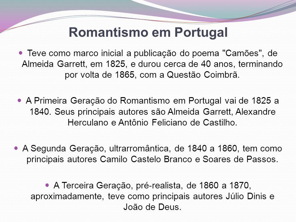Romantismo em Portugal Teve como marco inicial a publicação do poema