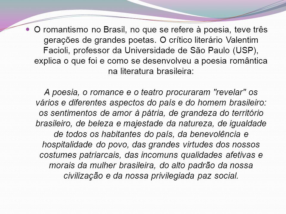 O romantismo no Brasil, no que se refere à poesia, teve três gerações de grandes poetas. O crítico literário Valentim Facioli, professor da Universida