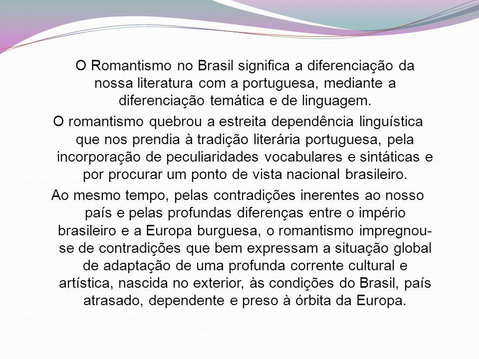 O Romantismo no Brasil significa a diferenciação da nossa literatura com a portuguesa, mediante a diferenciação temática e de linguagem. O romantismo
