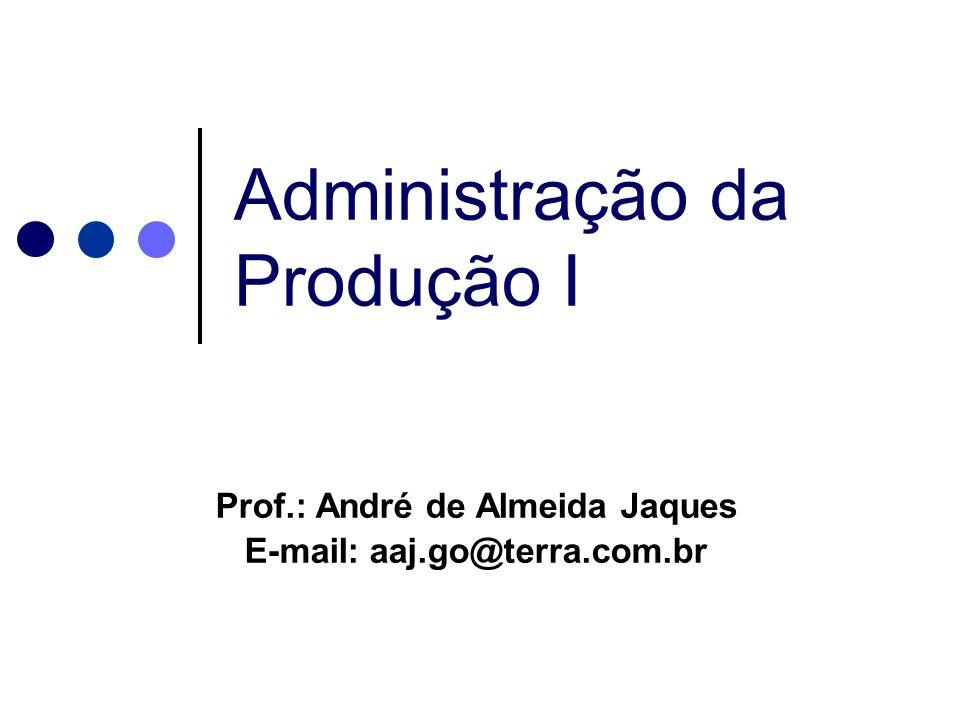 Administração da Produção I Prof.: André de Almeida Jaques E-mail: aaj.go@terra.com.br