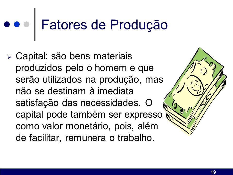19 Fatores de Produção Capital: são bens materiais produzidos pelo o homem e que serão utilizados na produção, mas não se destinam à imediata satisfação das necessidades.