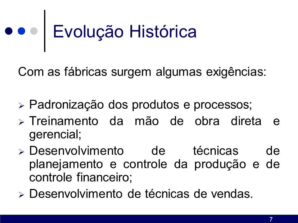 7 Evolução Histórica Com as fábricas surgem algumas exigências: Padronização dos produtos e processos; Treinamento da mão de obra direta e gerencial; Desenvolvimento de técnicas de planejamento e controle da produção e de controle financeiro; Desenvolvimento de técnicas de vendas.