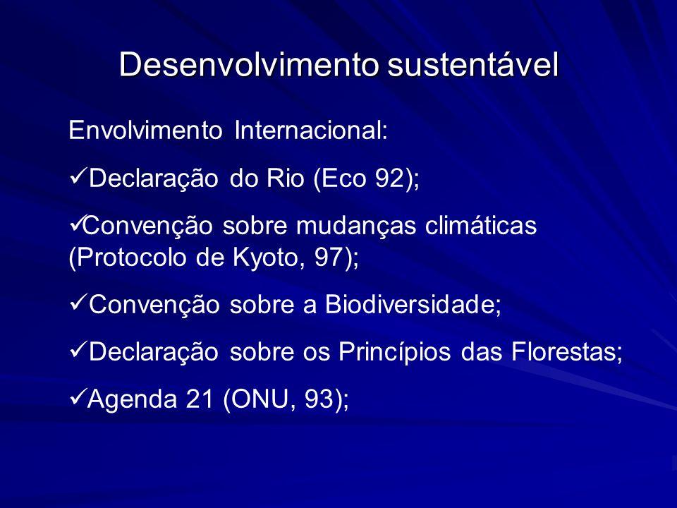 Desenvolvimento sustentável Envolvimento Internacional: Declaração do Rio (Eco 92); Convenção sobre mudanças climáticas (Protocolo de Kyoto, 97); Conv
