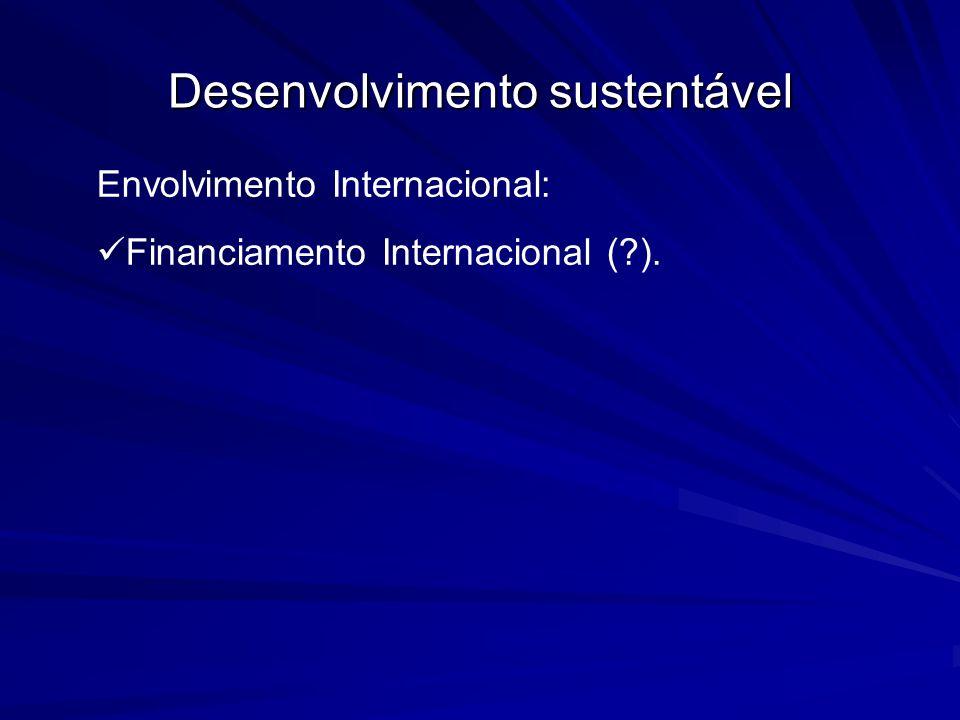 Desenvolvimento sustentável Envolvimento Internacional: Financiamento Internacional (?).