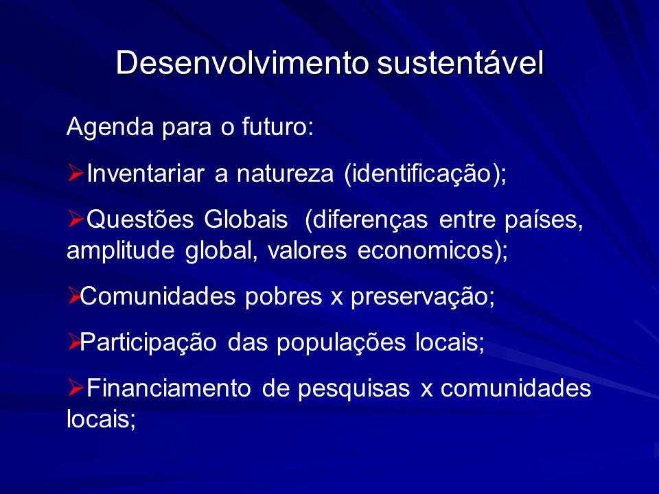 Desenvolvimento sustentável Agenda para o futuro: Inventariar a natureza (identificação); Questões Globais (diferenças entre países, amplitude global,