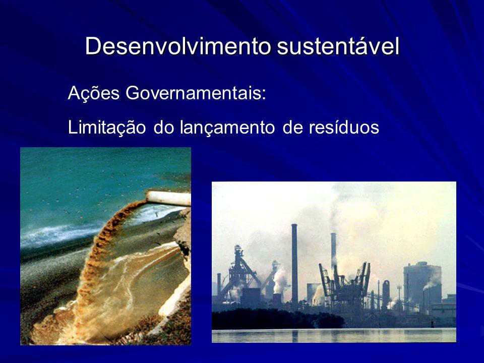 Desenvolvimento sustentável Ações Governamentais: Limitação do uso do solo
