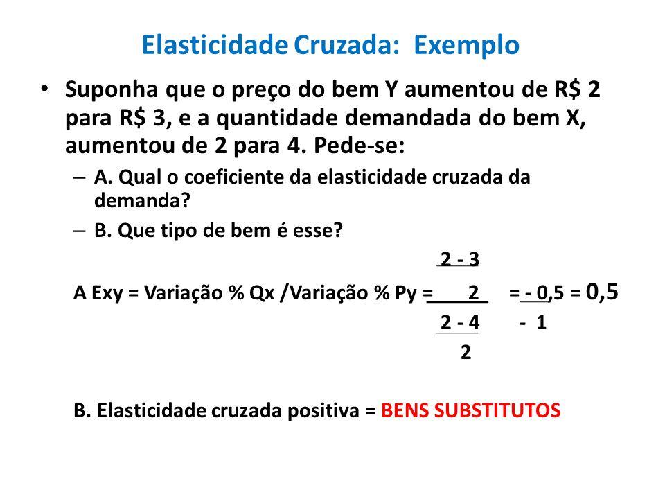 Elasticidade Cruzada: Exemplo Suponha que o preço do bem Y aumentou de R$ 2 para R$ 3, e a quantidade demandada do bem X, aumentou de 2 para 4. Pede-s