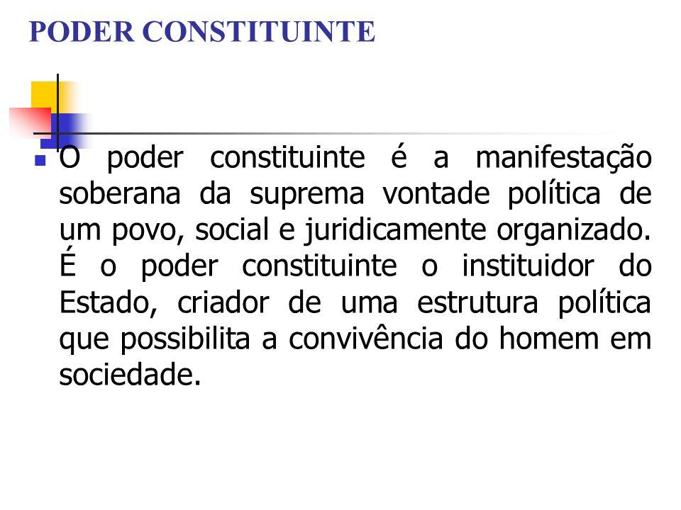 PODER CONSTITUINTE O poder constituinte é a manifestação soberana da suprema vontade política de um povo, social e juridicamente organizado. É o poder