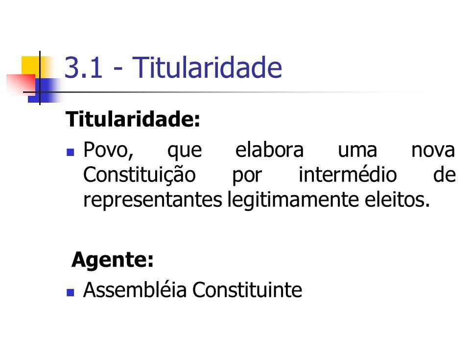 3.1 - Titularidade Titularidade: Povo, que elabora uma nova Constituição por intermédio de representantes legitimamente eleitos. Agente: Assembléia Co